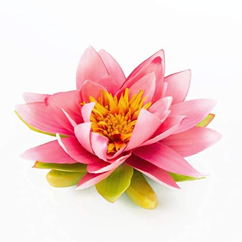 artplants.de Textil - Seerose Sanjana, schwimmend, pink, Ø 16cm - künstliche Lotusblüte - Kunstblume