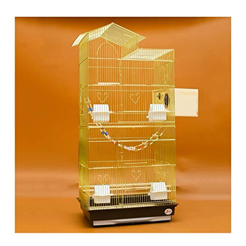 NYKK Birdhouses/Bird Cage 100cm Roof Top Large Metal Bird Cage Parrot Budgie Lovebird Finch Pet Bird Cage with Ladder and Breeding Box(Gold) Bird Cages for Small Birds (Color : B)