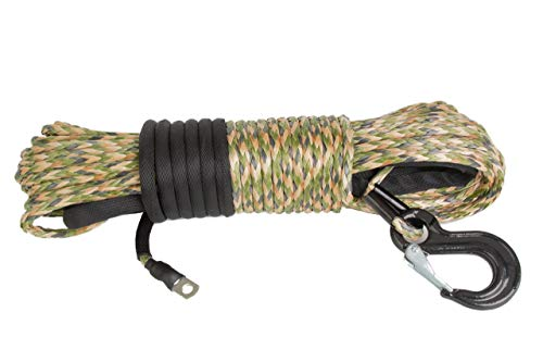 """Price comparison product image California Cordage 3 / 16"""" x 50' Camo DynaTech UHMWPE Winch Rope with G80 Forged Hook"""