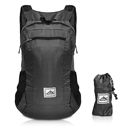 GROOFOO Zaino Pieghevole Ultraleggero 20L Portatile Resistente All'acqua Daypack per Uomini Donne Campeggio Viaggio Escursionismo Zaino da Esterno Giornaliero Nero