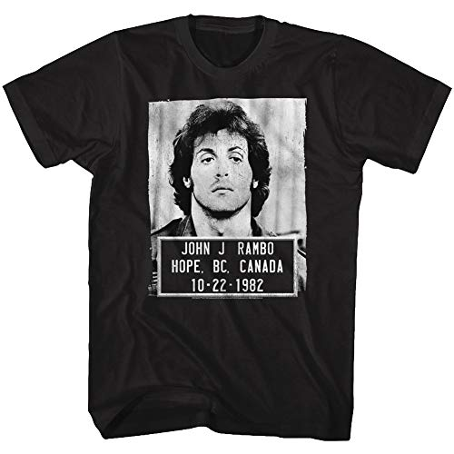 Rambo Film Series John J. Rambo Canada 1982 Mugshot T-Shirt für Erwachsene, Schwarz - Schwarz - 5X-Groß