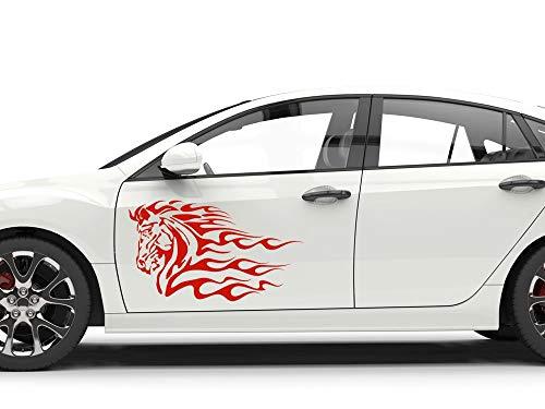 GrazDesign Autosticker, zijstickers, paard, vlammen tribal, autotattoo stickers 2St. je 99x57cm 340 Marone.
