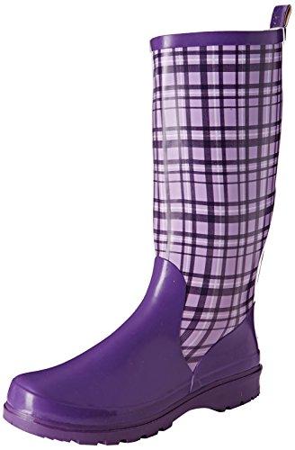 Playshoes Damen Gummistiefel, trendiger Regenstiefel aus Naturkautschuk, mit herausnehmbarer Innensohle, mit Karo-Muster, Violett (Flieder 10), 38 EU