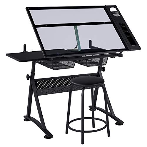 costoffs Height Adjustable Glass Drafting Table for Artists, with Tilting Tempered Glass Tabletop/Stool/2 Drawers, Black 121 x 60 x 70.5 cm