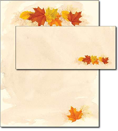 Simple Fall Leaves Autumn Paper & Envelopes - 40 Sets