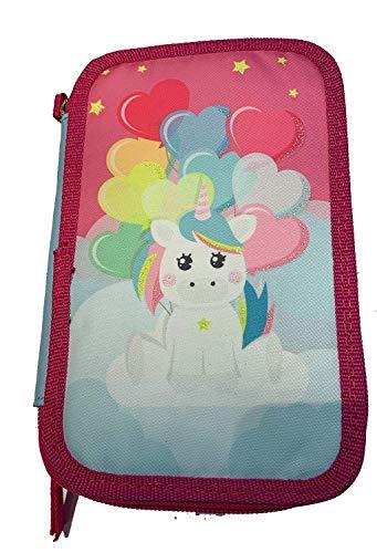 Astuccio Scuola Unicorno 3 Zip Portapenne Completo Raimbow