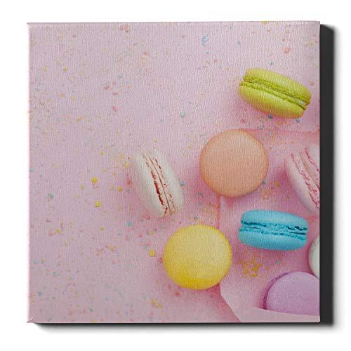 XiexHOME Leinwand Wandfarbe Verschiedene Bunte Himbeer Macarons Mädchen Leinwanddrucke Wandkunst und Dekor 20 x 20 Zoll (50x50cm) Wandkunstwerke Bilder für Wohnzimmer Schlafzimmer Dekoration
