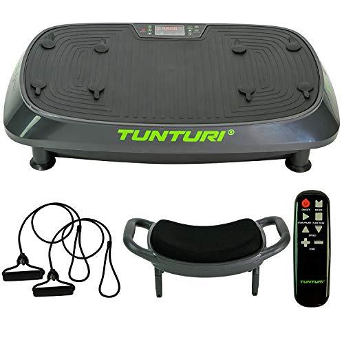 Tunturi Vibrationsplatte Cardio Fit V20 mit Schwingungen & Vibration, 3 Programme, 3 manuelle Modi, 30 Geschwindigkeiten, mit Hocker, Fernbedienung und Trainingsbänder