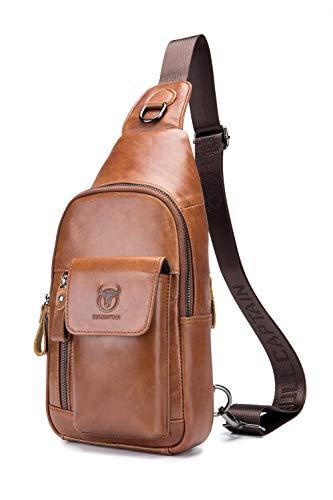 Herren Umhängetasche,Popoti Schultertasche Sling Bag Brusttasche Leder Handtasche Schleuder Tasche Rucksack Sporttaschen Brustbeutel Crossbody Bag zum Outdoor Wandern (Braun)