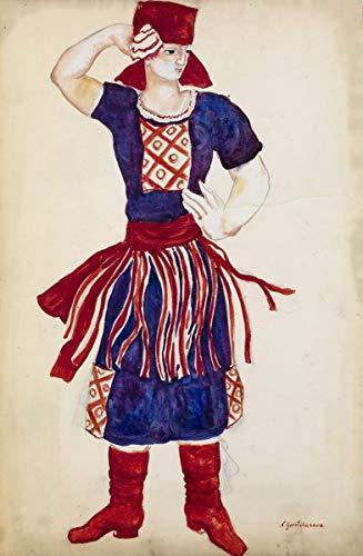 Natalia Goncharova Giclee Auf Leinwand drucken-Berühmte Gemälde Kunst Poster-Reproduktion Wand Dekoration(Goncharova Natalia Kostümentwurf zum Tanz der roten Svitka auf der Sorotchintzi-Messe) #XFB