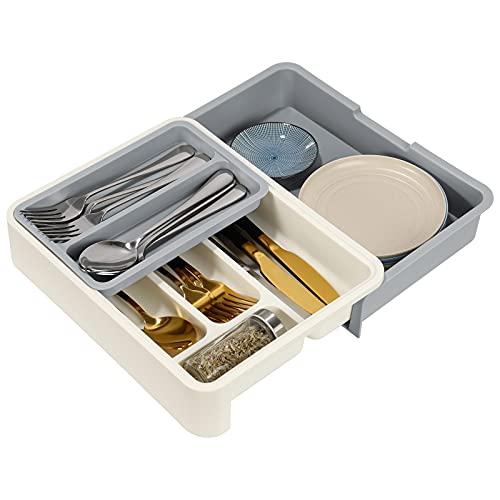 Cutlery Tray Drawer Organizer, Drawer Cutlery Organizer, Adjustable...