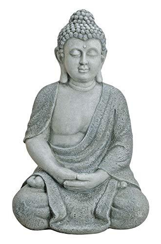 Worldconnection XXL Großer Buddha 62 cm aus Polyresin (ähnlich Einer Steinfigur) Garten Deko Figur Skulptur Feng Shui sitzend