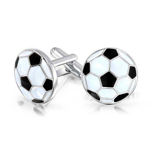 Bling Jewelry Hommes Sport Fan Coach Noir Blanc Émail Football Ballon De Football Boutons De Manchette pour Hommes Chemise Exécutive Boutons De Manche
