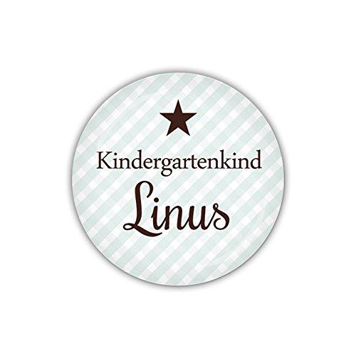 lijelove® Button 38mm Ø VICHY blau, Kindergartenkind mit Wunschname (Art. PBU297)