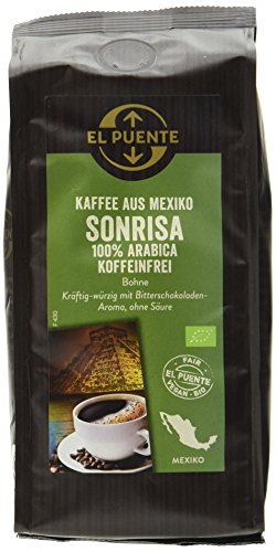 El Puente Bio-Cafe Sonrisa, koffeinfrei, Bohne, 4er Pack (4 x 250 g)