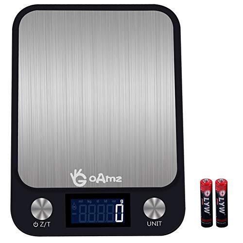 GOAMZ Digitale Küchenwaage 10kg/1g Digitalwaage Professionelle Waage Electronische Waage, Haushaltswaage mit 7 Wiegeeinheiten, LCD Display, Auto-Off(Batterien enthalten)