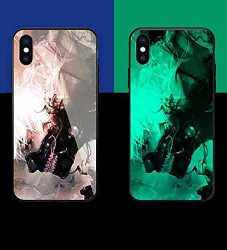 Carcasa de Telefono Luminoso Funda para Teléfono con Cordón, Carcasa de Vidrio Templado Borde Suave Antifricción 3D Patrón de Anime Dongjin Ghoul Serie Compatible con iPhone 7 Plus