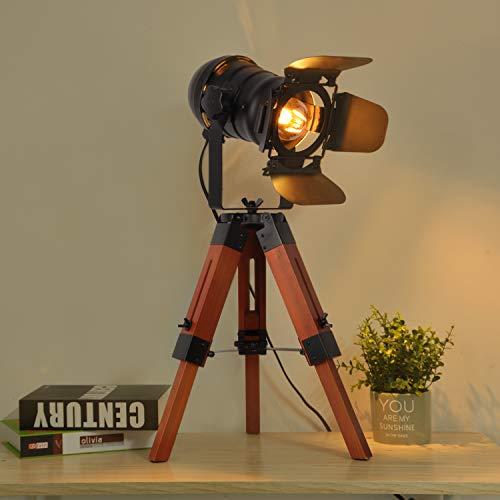 Decoluce Industrial Tripod Floor Table Lamp Vintage Wood Cinema Searchlight Standing Lighting...