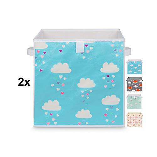 Just For You 2 Stück Spielzeugboxen Doppelpack 33x33x33 cm Set für Kinderzimmer Aufbewahrungsbox Kisten mit Handgriffen blau Himmel Sterne Wolken für Spielzeug, Kleidung, Windeln (Wolken Blau)