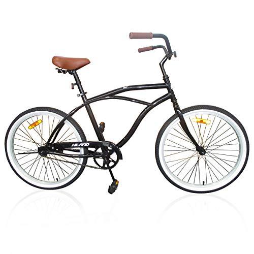 Hiland 26 Inch Men's Beach Cruiser Bike with Wide Seat Cruiser Bicycle for Men,Urban City Comfort Commuter Bikes Black