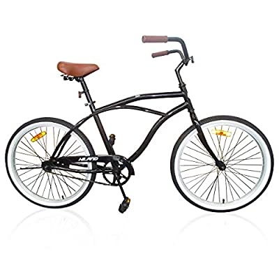 Hiland 26 Inch Men's Beach Cruiser Bike with Wide Seat Cruiser Bicycle for Men,Urban City Comfort Commuter Bikes Black