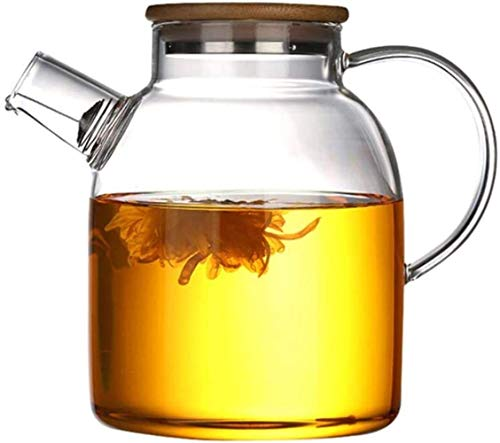 Teapot Glass Kettle Teapot with Safe Filter Coil Pitcher Bamboo Lid Filter Spout 1000ml,1600ml (Size : 1600ml) Song (Size : 1600ml)