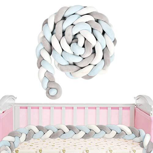 NA Pleciony wąż do łóżeczka 3 m obramowanie łóżka pleciony z siatką do prania, obramowanie łóżeczka dziecięcego (niebieski/biały/szary)