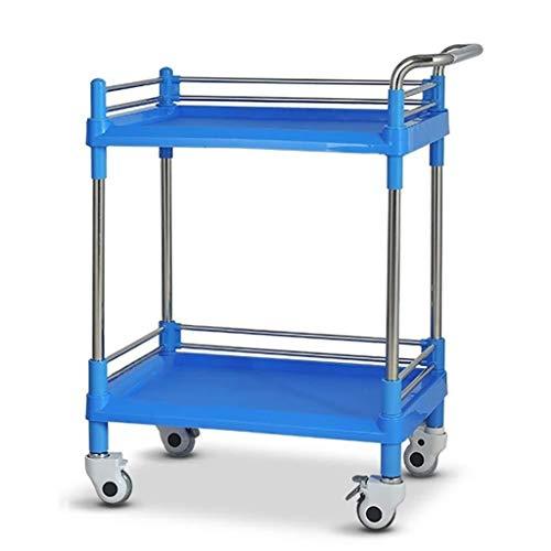 Zhao Li 2-dier Medical Cart/Beauty Salon Roluitrusting winkelmandje, roestvrij staal Utility trolley voor Office Home Kitchen, belasting 100 kg