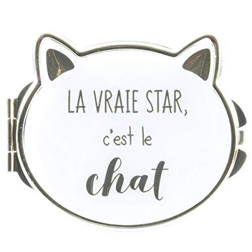 Les Trésors De Lily [Q4769] - Miroir de poche 'Chats' blanc (la vraie star c'est le chat) - 8x7 cm
