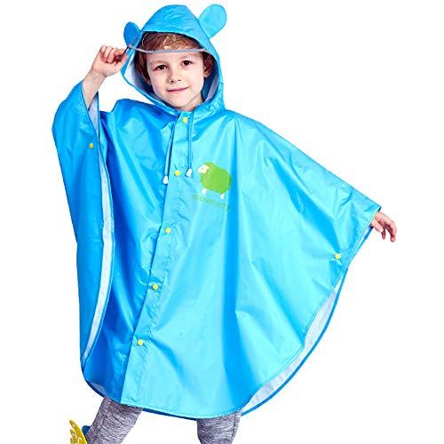 JTENG Bambino Poncho Impermeabile, Poncho Antipioggia Cappello Allargato Bambino con Strisce Riflettenti, Riutilizzabile Cappotto di Pioggia Bambini Giacca da Pioggia(Blu, M)