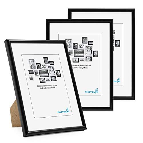 PHOTOLINI Bilderrahmen 3er Set 10x15 cm Modern Schwarz Kunststoff-Rahmen Schmal mit Glasscheibe und Zubehör