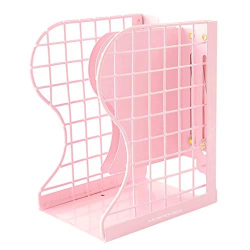 本立て ブックエンド 伸縮自在 ブックスタンド 卓上収納 仕切りスタンド 金属製 書類入れ 折り畳み式 オフェス 書類/新聞/ファイル/本入 大容量 おしゃれ ピンク