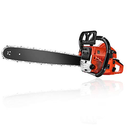 Homdox 20 Inch Gas Powered Chainsaw, 62CC Woodcutting Chain Saw with Tool Kit for Cutting Trees, Wood(Orange)