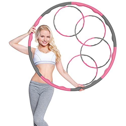 Generisch Hula Hoop Reifen für Erwachsene und Kinder, Frauen und Männer - Größenverstallbar bis 95 cm Durchmesser - mit Massageeffekt - für Anfänger und Fortgeschrittene