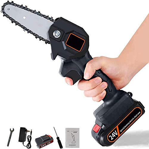 Handheld Cordless Chainsaw | Mini 4-Inch Cordless Electric Protable Chainsaw, Adjustable Cutting Speed For Wood Cutting, Tree Pruning And Garden, Rechargeable Battery And Charger Included (Black)