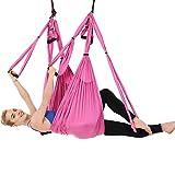 DaiHan Yoga Hamaca Columpio Trapecio Set Anti Gravedad Ultra Fuerte Cómodo Ejercicios Fitness Flexibilidad Núcleo Fuerza Pérdida de Peso Rosado M