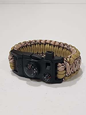 Peck and Paw Industries - Veteran Owned Emergency Survival Bracelet - Paracord/Fire Starter/Knife/Multitool/Compass/Thermometer/Emergency Whistle