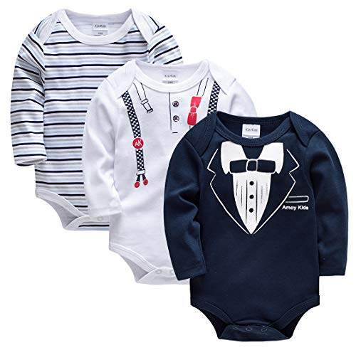 Kavkas - Conjunto de 3 camisetas de manga larga para bebé de algodón suave para niños y niñas,...