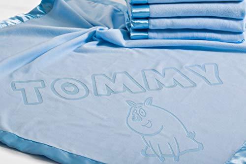 Baby deken voor auto stoel met naam en schattig varken motief, 88x88CM,roze Single Line Text Blauw