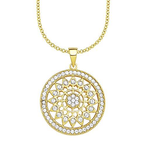 amor Kette mit Anhänger für Damen 42+3 cm mit Anhänger Ornament 925 Silber gelbvergoldet Zirkonia weiß