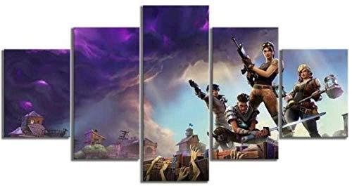bnkrtopsu 5 Wandkunst Stück Leinwand 5 Leinwandbilder auf Leinwand für Heimdekoration und Poster Zombie Fortnite-Spiel mit Charakteren (150 x 80 cm,Rahmenlos)