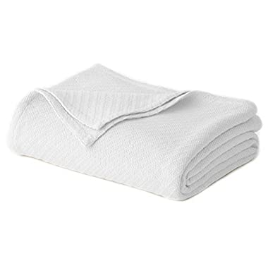 Cotton Craft - 100% Soft Premium Cotton Thermal Blanket - Full/Queen White - Snuggle in these Super Soft Cozy Cotton Blankets - Perfect for Layering any Bed - Provides Comfort and Warmth for years