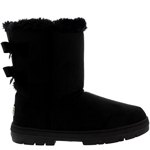 Damen Schuhe Twin Schleife Fell Schnee Regen Stiefel Winter Fur Boots - Schwarz - 41 - AEA0234