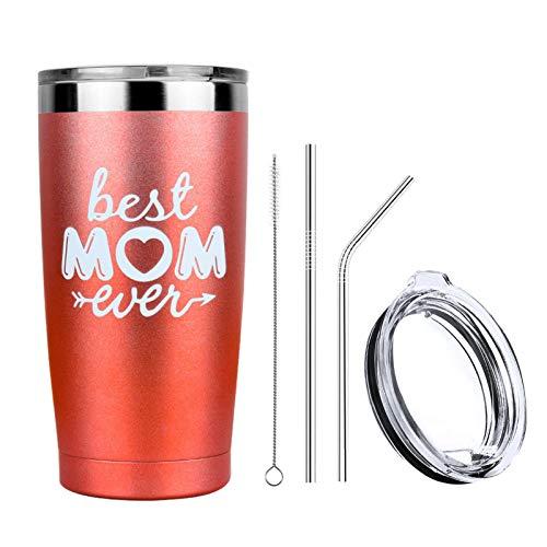 Suppemie Best Mom Ever Taza de doble pared aislado al vacío, vasos de vino, taza de café de acero inoxidable, taza de café aislada, se puede utilizar para vino, café, té, zumo, cola, cerveza, etc.