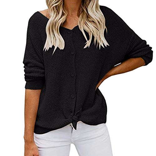 Wintialy Autumn Women Ladies Long Sleeve Womens Off Shoulder Sweater Button Down Shirts Sexy Tops Blouse Black