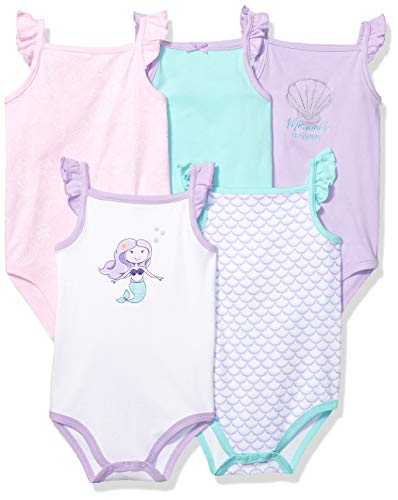 Hudson Baby Unisex Baby Cotton Sleeveless Bodysuits, Mermaid, 6-9 Months