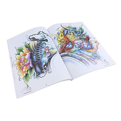 70 Seiten Orientalischer Traditionell Tattoo Vorlagen Buch Tattoo Buch, inkl. cryprinus carpiod, Drachen, rot-gekrönten Kran, Phoenix Muster