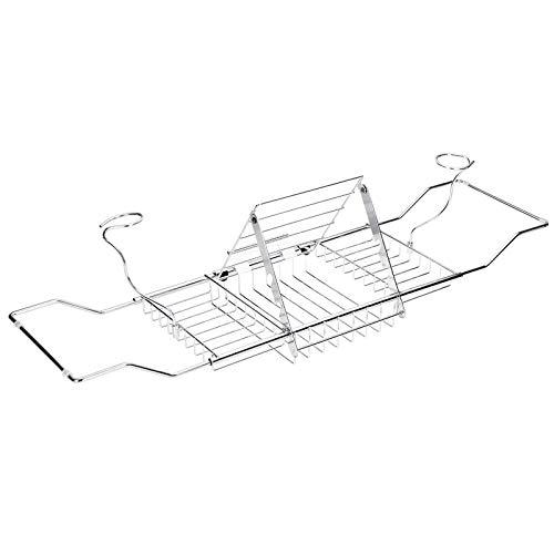 Bandeja extensible para bañera de acero inoxidable para bañera (tamaño: 61-85) x 8,5 x 20 cm, color: plata)