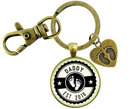 Gutsy Goodness Daddy Established 2018 Keychain New Dad First Father's Day Vintage Bronze Keychain Baby Feet Charm