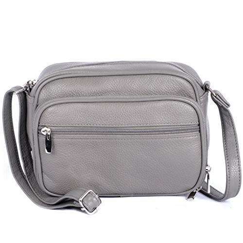 Cowhide Leather Women's Shoulder Purse Small Cross Body Organizer Bag with Many Pockets (Grey-Accrdn)